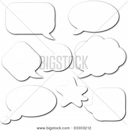 Comic Speech Empty White Bubbles Set