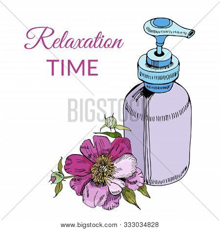 Composition With Cosmetic Bottle And Peony Flower Isolated On White Background. Hand Drawn And Color