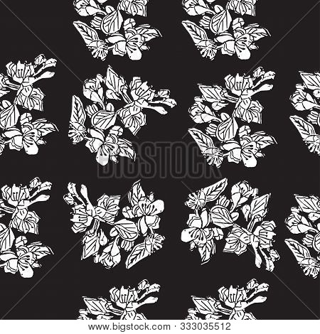 Seamless Pattern Of  White  Blossoming Branch Of Apple Tree Flowers On Black Background. Hand Made L