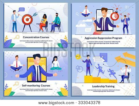 Business Training Courses For Leaders And Self-development Flat Banner Set. Concentration, Aggressio