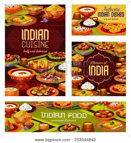 Indian Food Vector Design Of Asian Restaurant Banners. Meat, Vegetable And Seafood Dishes With Desse