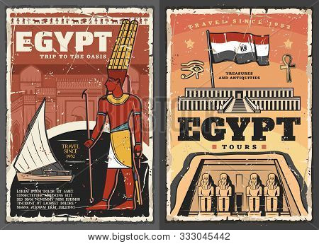 Egypt Tour Vector Design With Ancient Egyptian Travel Landmarks And Flag. Temples Of Pharaoh Ramesse