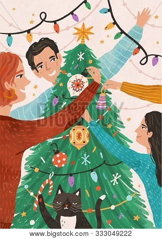Family Celebrating Christmas Together Flat Vector Illustration. Happy Child With Mother And Father C