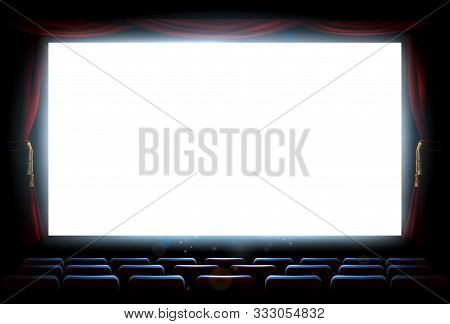 An Illustration Of The Interior Of A Cinema Movie Theatre With Copyspace On The Screen With Red Curt