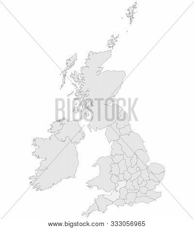 United Kingdom Countries With Boundaries Vector Illustration. Light Grey Color.