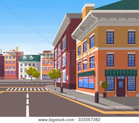 Town With Buildings And Empty Street, 3d Look Of City Road And Houses. Bushes And Trees, Greenery Ci