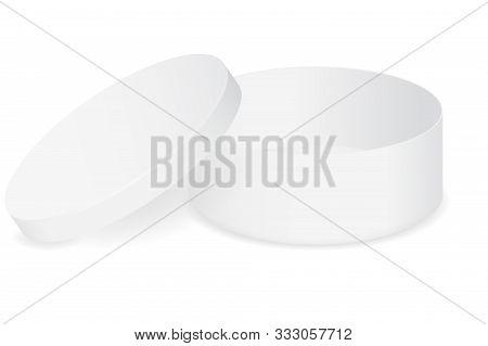 White Round Box Open. Vector Illustration Isolated On White Background.