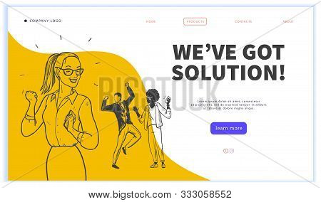 Landing Page Design Template, Ui, Mobile App. Business Solution, Creative Team Work, Partnership, Re
