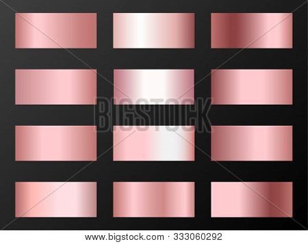 Pink Rose Gold Gradients Vector Set. Metallic Pink Gold Foil Texture Gradient Swatches. Shiny Metall