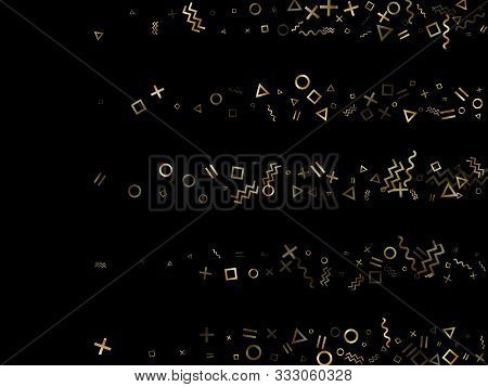 poster of Gold geometric confetti vector memphis style background with triangle, circle, square shapes, chevron and wavy line ribbons. Digital 90s style bauhaus gold yellow tinsel confetti flying on black.