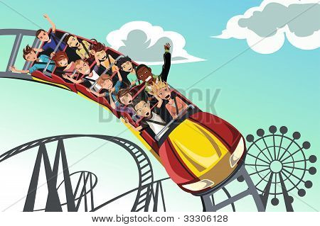 People Riding Roller Coaster