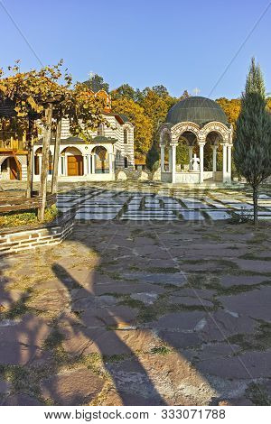 Gigintsy Monastery, Bulgaria - October 7, 2018:  Sunset View Of Medieval Tsarnogorski (gigintsy) Mon
