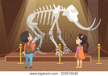 School Education And Excursions Vector, Boy And Girl Looking At Skeleton Of Prehistoric Creature Rem