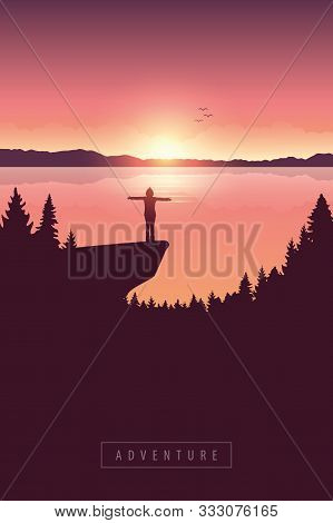 Girl On A Cliff Adventure In Nature By The Lake With Mountain View Vector Illustration Eps10
