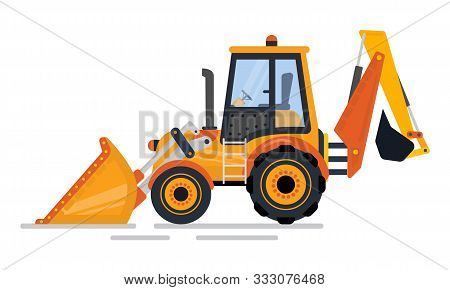Backhoe Loader, Side View Of Digger, Vehicle With Big Wheels And Blade. Tractor Construction Equipme