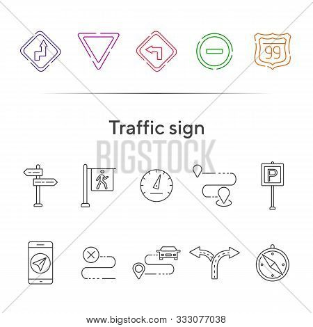 Traffic Sign Icons. Parking Sign, Yield Ahead, Access Denied. Road Sign Concept. Vector Illustration