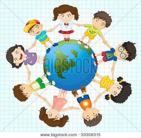 Illustration of kids around the earth - EPS VECTOR format also available in my portfolio.
