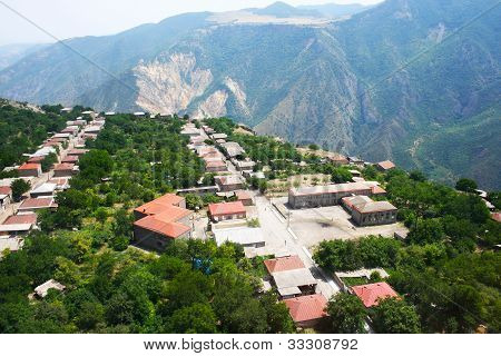 Mountain village Halidzor view from altitude in Armenia. poster