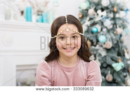 Add Some Glitz And Glam To Your Look. Happy Girl Smile With Christmas Look. New Year Eve Party Look