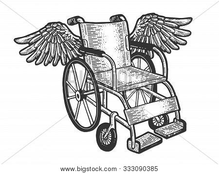 Wheelchair With Wings Sketch Engraving Vector Illustration. T-shirt Apparel Print Design. Scratch Bo