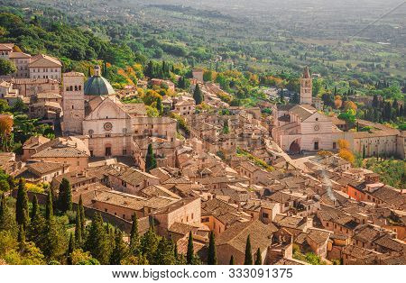 View Of Assisi Charming Historic Center And Umbria Countryside Seen From Above With St Rufinus Cathe