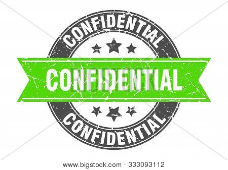 Confidential Round Stamp With Green Ribbon. Confidential