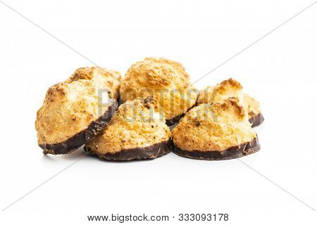 Coconut cookies with chocolate isolated on white background.