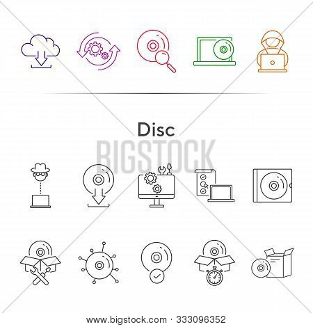 Disc Icons. Set Of Line Icons. Cd Scan, Box For Cd, Setting Cd. Software Product Concept. Vector Ill