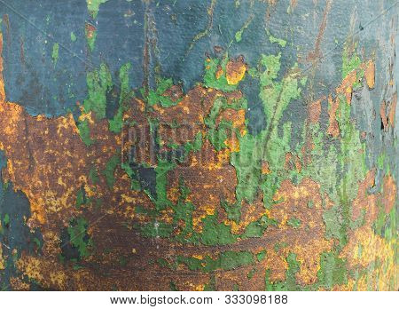 Green And Brown Rusted Steel Texture Background