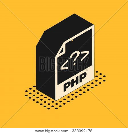 Isometric Php File Document. Download Php Button Icon Isolated On Yellow Background. Php File Symbol
