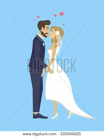 Happy Bride And Groom, Just Married Couple In Wedding Suit And White Dress Kissing. Vector Cartoon N