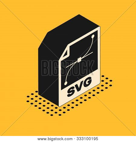 Isometric Svg File Document. Download Svg Button Icon Isolated On Yellow Background. Svg File Symbol