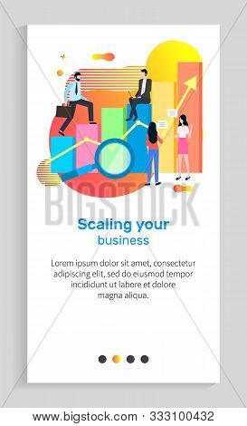 Scaling Your Business Vector, Man And Woman Working In Field Together, Infochart With Magnifying Gla
