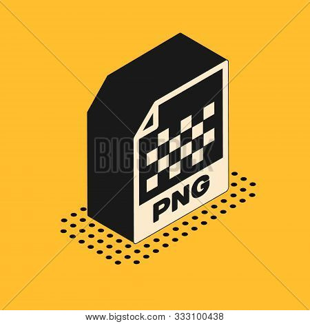 Isometric Png File Document. Download Png Button Icon Isolated On Yellow Background. Png File Symbol
