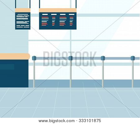 Airport Terminal Interior, Ticket Office With Metal Barrier Fence. Checkpoint With Information Board