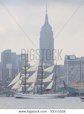 HOBOKEN, NJ - MAY 23: The tall ship BAE Guyas (Ecuador) sails on the Hudson River past Manhattan during the Parade of Sail on May 23, 2012 in Hoboken, NJ. The parade is the start of Fleet Week.