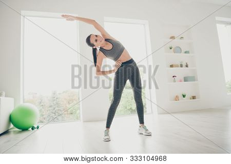 Full Size Photo Of Muscular Strong Sportive Girl Follow Daily Morning Regime Of Slimming Dieting Pra