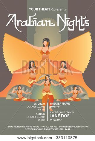 Retro Styled Poster Template For Belly Dance Show With Five Belly Dancers In Gold Colored Costumes