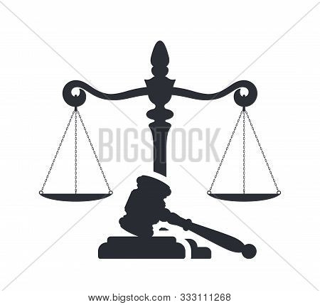 Law And Justice Concept. Gavel Of The Judge And Scales Of Justice. Vector Silhouette. Libra And Gave