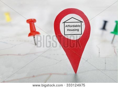 Affordable Housing Locator Symbol On A Map With Tacks