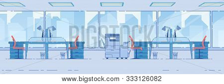 Spacious Office Area With Computer Tables Standing Front Of Huge Panoramic Window With City View, Fu