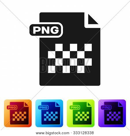 Black Png File Document. Download Png Button Icon Isolated On White Background. Png File Symbol. Set