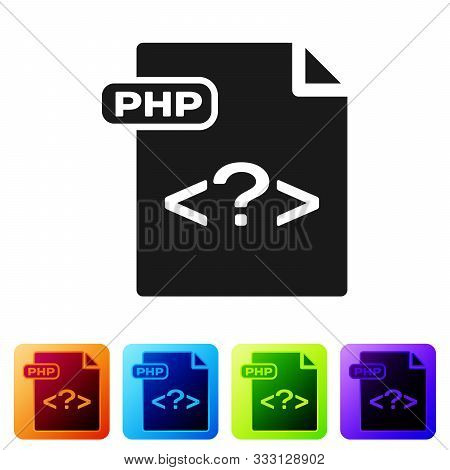 Black Php File Document. Download Php Button Icon Isolated On White Background. Php File Symbol. Set