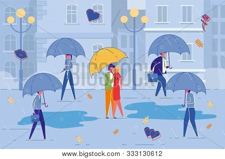Loving Couple Having Romantic Date In Rain Amidst City Bustle And Bad Weather. People Cartoon Charac