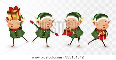 Collection Of Christmas Elves Isolated On Transparens Background. Little Elves. Santas Helpers. Elve