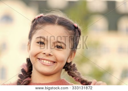 Brilliant Smile. Sincere Emotional Kid. Girl Emotional Face. Childhood And Happiness Concept. Kid Ha