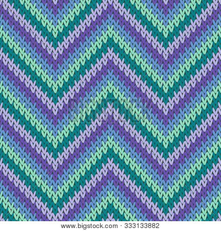 Close Up Zigzag Chevron Stripes Knitted Texture Geometric Vector Seamless. Rug Knitwear Structure Im