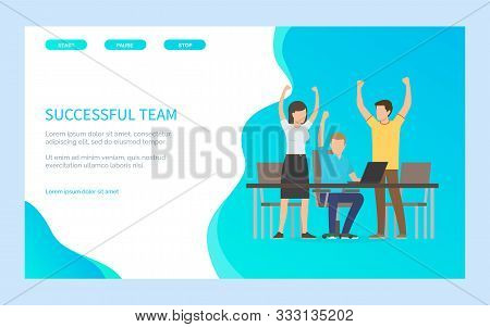 People With Rising Hands Reach Success, Group Of Man And Woman Progressing Together. Worker Sitting