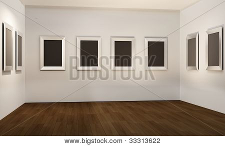 Empty Frames And Blank On Empty Space Interior. Parquet On The Floor