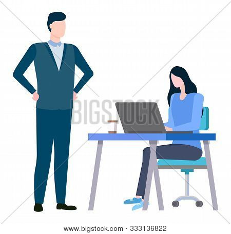 Woman Sitting On Chair At Desk And Boss Supervising Employer. Vector Training At Work Controlling Su